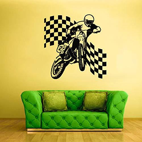 Bike Finish Flagge Motorrad Wandaufkleber Für Jungen Schlafzimmer Bobby Vinyl Removable Wallpaper Decals Wohnzimmer Poster Murals schwarz 80X80 cm
