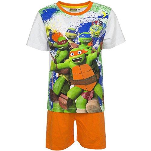4531 Kinder Freizeitanzug 2-teilig T-Shirt u. Shorts MUTANT NINJA TURTLES Jungen (weiß-orange, 98)
