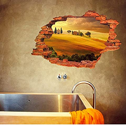 3D Sunset Castle Farm Desert Smashed Wall sticker