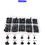 Bestartstore 1Box(75pcs) 5 Sizes Black Plastic Safety Eyes and Triangle Noses Set for Doll Teddy Puppet Making