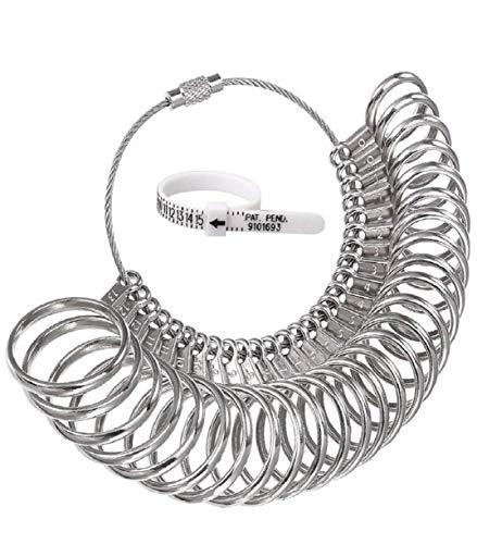 Vaycally Schmuck Ringgröße Messlehre Set Edelstahl Ring Auf Finger Messen Größe Messwerkzeug Liefert US 0-13 für Frauen und Männer