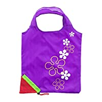 STRUGGGE Strawberry Reusable Shopping Tote Bag Foldable With Pouch, Eco Cute Expandable Shoulder Grocery Bags (purple)