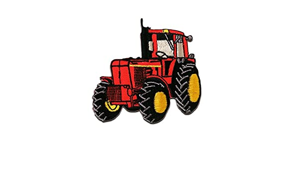 7,3x7,5cm Traktor rot Patches Aufbügeln Aufnäher // Bügelbild