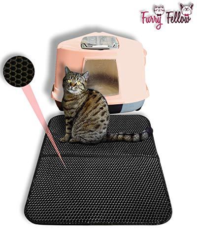 Furry Fellow Katzenklo Matte 70x55 cm - inklusive Stofftasche - Zweilagige Katzenstreumatte im Waben Muster
