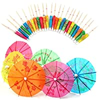 Welecom 40 Pcs Colourful Drink Umbrellas,for Party Tropical Drinks Accessories