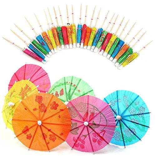 Welecom 40pcs colorido bebida paraguas, para fiestas Tropical bebidas accesorios