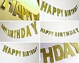 SUNBEAUTY 3 Meter Happy Birthday Girlande Gold Glitzer Geburtstag Deko