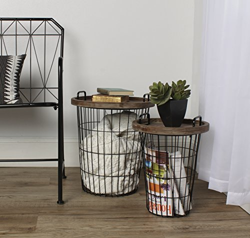 Kate and Laurel Tenby Nesting Metal and Wood Tray Accent End Tables, Black by Kate and Laurel -