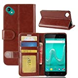 GOGME Wiko Sunny 2 Plus Wallet Case Premium PU Leather Wallet Cover with Magnetic Closure and Card Slots, Braun