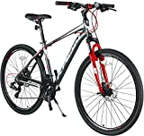 KRON TX-100 Aluminium Mountainbike 28 Zoll   21 Gang Shimano Kettenschaltung mit Scheibenbremse   18 Zoll Rahmen MTB Erwachsenen- und Jugendfahrrad   Grau Rot