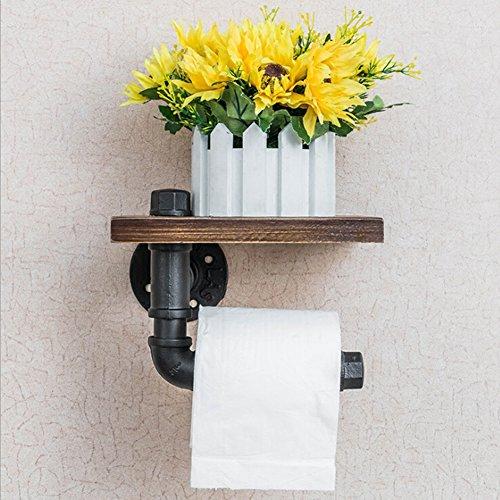 Candora Tube fer industriel support pour rouleaux de papier WC Distributeur de serviette de support de rouleau de papier de stockage Cintre de soie style rustique fer malléable en métal Noir et bois brun à fixation murale de salle de bain étagère