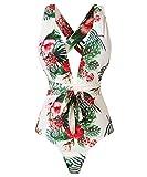 Begonia.K Damen Tropisches Muster Tiefer V-Ausschnitt Criss Cross Blumenmuster Einteiler-Badeanzug - Mehrfarbig, Small