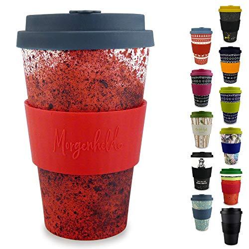 Morgenheld ☀ Dein trendiger Bambusbecher | umweltfreundlicher Coffee-to-Go-Becher | nachhaltiger Kaffeebecher mit Silikondeckel und Banderole in coolem Design 400 ml Füllmenge (Red) - Becher Kaffee Melamin Red