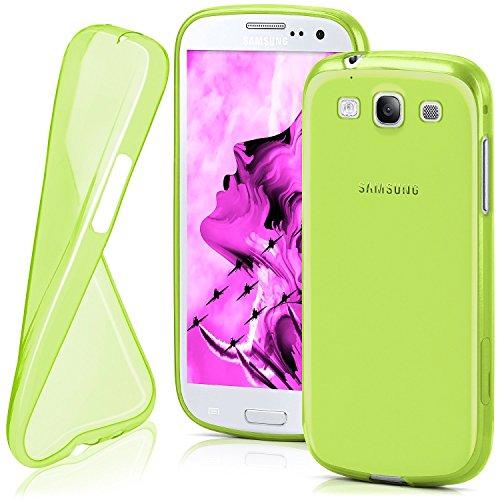 Cover di protezione Samsung Galaxy S3 / S3 Neo Custodia Case silicone sottile 0,7mm TPU | Accessori Cover cellulare protezione | Custodia cellulare Paraurti Cover Traslucida Trasparente LIME-GREEN