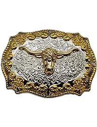 YONE Hebilla de cinturón Silver Golden Longhorn Bull Cowboy Western Belt  Buckle 464a970ecfec