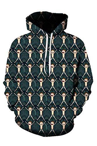 Herren Damen Kapuzenpullover Sweatshirt Hoodie Print Pulli