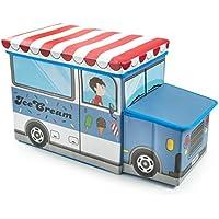 Preisvergleich für Spielzeug Aufbewahrungsbox große Kids Kinder Sitz Hocker Ice Cream Truck Design ideal für die Speicherung Bücher, reduziert Unordnung oder als Spielzeug Box Brust perfekt für Spielzeug, Spiele, Bücher Kleidung, etc.