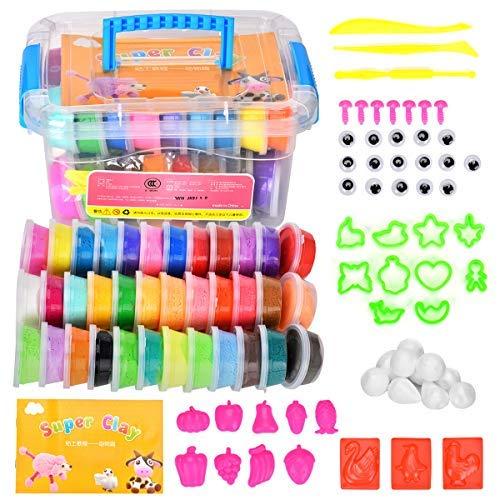 Towinle Knete Set in 36 Fraben mit Knetwerkzeug Geschenk für Kinder Hüpfknete Springknete Kinderspielzeug (88 ()