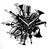Horloge Murale en Vinyle Cadeau Fait Main Décorations Pour la Maison Home Office  Guitare Batterie Clavier Notes Instruments Musicaux Jazz Rock