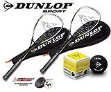 Dunlop Green Edt. Squashset 2x Squashschläger BIOTEC LITE + 3x Bälle & 2x Hüllen