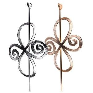 MagiDeal 2 Stück Geometrische Stil Schmuck Haarnadeln für Frauen – Silber +Goldfarbig