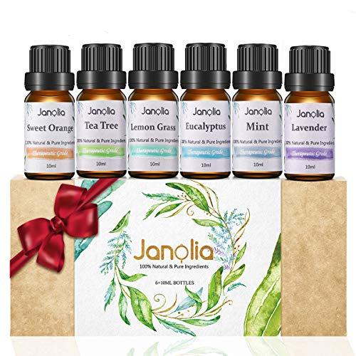 Janolia ätherisches Öle Set Aktualisierte Version, 6 x 10 ml Reines Natürliche Duftöle Set für Diffuser Entspannung Schlaf verbessern,Für Zuhause, Büro, Spa