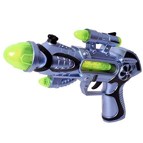 tevenger Kinder Spielzeug Pistole Gewehr Laserpistole Licht Sound Effekte Laser Space Gun silber