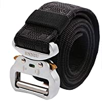 """AIZESI Men Tactical Belt 1.5"""" Heavy Duty Belt, Quick-Release Military Style Shooters Nylon Belts with Metal Buckle (49"""", Black/Silver)"""