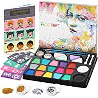 lenbest Face Paint Set for Kids, 17 Color Face Painting Ultimate Party Pack with Designs Teaching Book - More Black and White - Hexagonal Silver Glitter - Halloween Carnival Makeup kit - Water Based