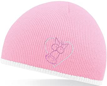 Funky Filly Pony Girls 'Sparkly Horse Heart' Pink Warm Woolly Winter Knitted Beanie Hat with contrast edge with stripe. One size fits all adults and most kids from the age of 7