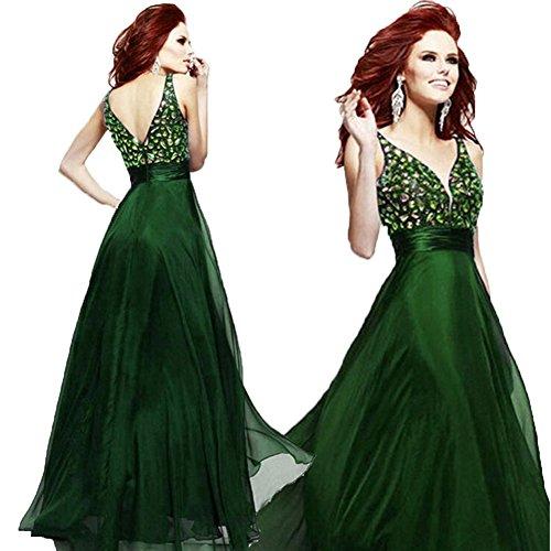 June's Young Sexy robe de soirée dos nu longue col V bretelle ruban flottant a paillettes Vert