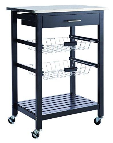 Demeyere 365073 - Carrito auxiliar de cocina (acero inoxidable), color negro