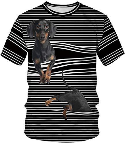 EUDOLAH Herren T-Shirts 3D Druck Bunt Galaxy Sport Rundhals Print Schmale Passform Motiv Tops Hund und Streifen XL