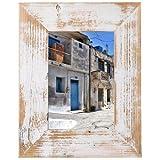 Bilderrahmen aus echtem Alt-Holz im Landhaus-Stil vintage, rustikal - handgefertigte Unikate in Weiß 20x30
