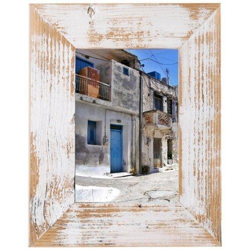 Mein Landhaus Bilderrahmen aus echtem Alt-Holz Stil Vintage, rustikal - handgefertigte Unikate in Weiß 18X24