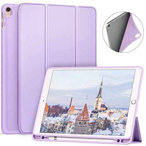 Ztotop iPad Pro 10.5 Hülle mit stifthalter, Ultra-weiche TPU-Rückseite und dreifach Gefaltete Abdeckung, automatische Aufwachenden/schlafenden Intelligente Hülle, Lila