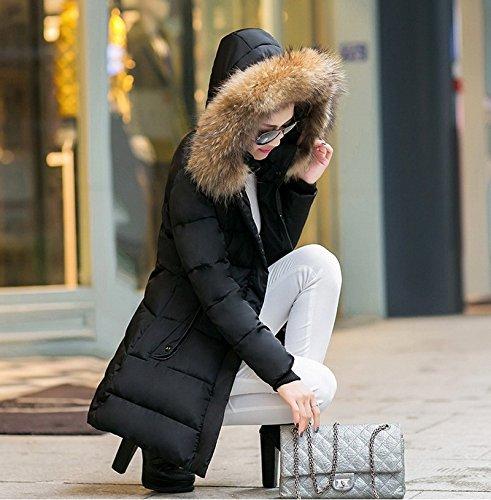 Smile YKK Manteau Femme Parka Hiver Faux Fourrure Veste à Capuche Blouson Epais Fermeture Eclair Noir