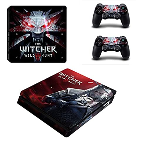 Playstation 4 Slim + 2 Controller Aufkleber Schutzfolien Set - The Witcher /PS4 S
