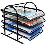 SEPAL 4 Tier Metal Mesh File Tray A4 Documents/Files/Papers/Letters/folders Holder Desk Organizer for Home and Office
