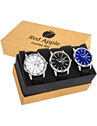 Red Apple Men's Analog Combo Multi-coloured Dial Wrist Watch With Black Leather Straps ( Pack Of 3 Pcs.)
