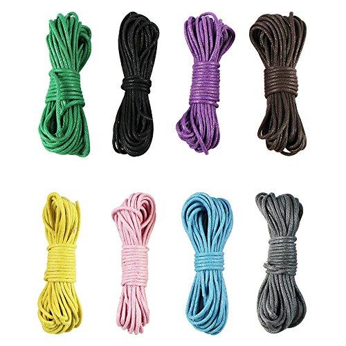 EDGEAM 8er Bunt Wachsband Baumwollschnur Gewachst für Halsband Halskette DIY Schmuckherstellung (1.5MM, Mischfarbe)