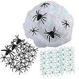 Unomor Halloween Spinnennetz Deko Dehnbar mit 5 Stück x 7cm Fake-Spinnen, 20 Stück x 4,5cm Spinnen, 40 Stück x 4,5cm Leuchtet im Dunkeln Fake-Spinnen für Halloween Dekorationen Im Haus Draußen