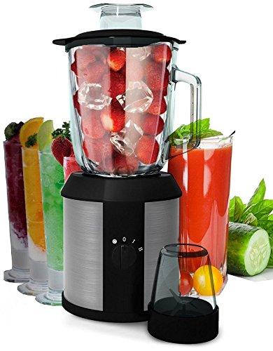 1.500 Watt 2in1 Glas Edelstahl Standmixer | Smoothie Maker | + Kaffeemühle | Zerkleinerer | Ice Crusher | Universal Power Mixer | Shaker | Metallmesser | 1,3 Liter | 2 Geschwindigkeitsstufen (1500Watt Glas/Edelstahl)