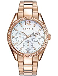 Esprit Essentials Women's Quartz Watch with Mother Of Pearl Dial Analogue Display and Rose Gold Stainless Steel Bracelet ES108932003