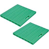 com-four® 2X Schaumstoff Kniekissen, ca. 35 cm x 30 cm x 3 cm, grün (35 x 30 cm - 02 Stück grün)