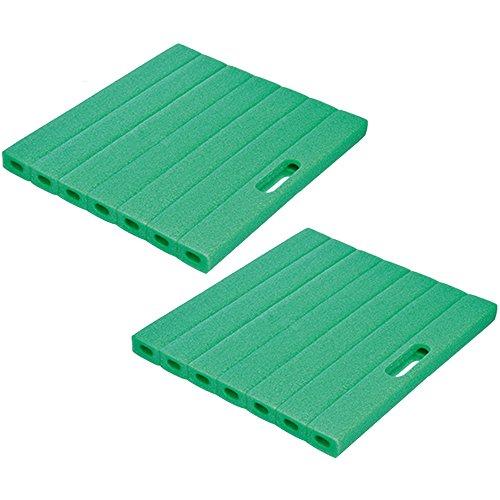 com-four® 2X Schaumstoff Kniekissen, ca. 35 cm x 30 cm x 2,5 cm, grün (35 x 30 cm - 02 Stück grün)