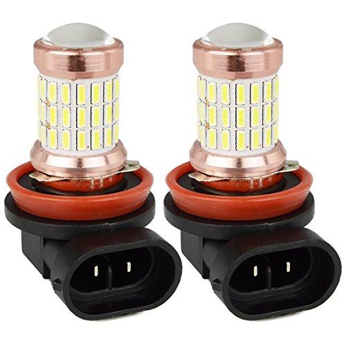 Safego 2 x H8 H9 H11 Lampes Ampoules Antibrouillard 60 SMD 4014 LED DRL Phares BULB LED ULTRA BLANC pour Voiture Auto LED Ampoule Bulb Lumière Anti-brouillard Xenon Blanche DC 12V 6000K