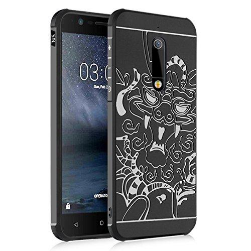 "Nokia 3(5.0"") Funda-Tianqin TPU Suave Cubierta del Nokia 3(5.0"") [Choque][Thin][Impedir la Caída][Prevent Rascarse][Patrón Xianglong] Adecuado Para Nokia 3(5.0"") Caso - Negro"