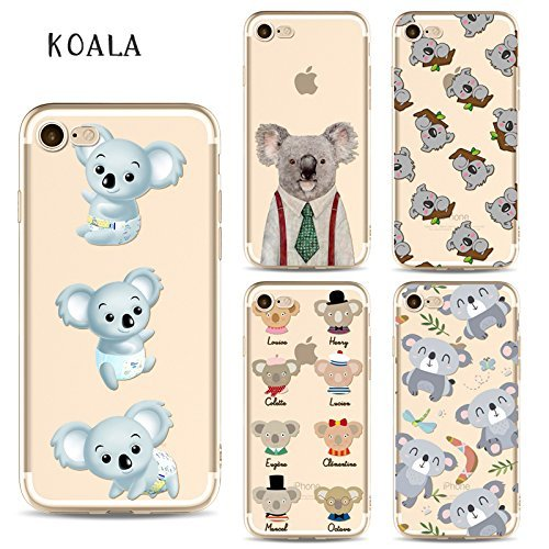 Coque iPhone 6 Plus 6s Plus Housse étui-Case Transparent Liquid Crystal en TPU Silicone Clair,Protection Ultra Mince Premium,Coque Prime pour iPhone 6 Plus 6s Plus-Koala-style 3 7