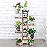 BLOIBFS Blumenstand Leiter Aus Holz Garten Display Regal Balkon Wohnzimmer Pflanzenständer Innenregal,Carbonized-6Layers